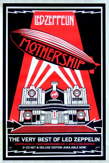 LED ZEPPELIN * MotherShip * Music Poster SHEPARD FAIREY 4' x 6' HUGE Rare 2007 NEW