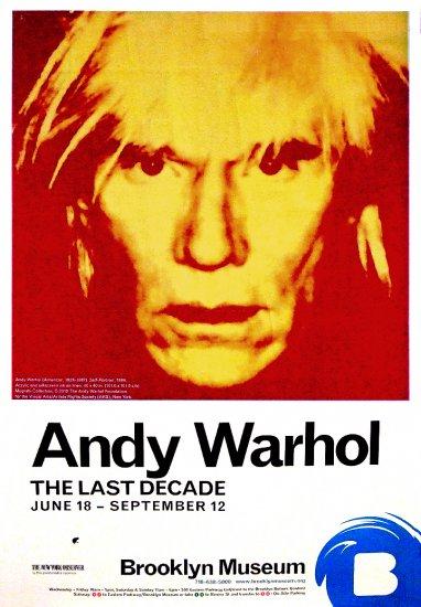 ANDY WARHOL * The Last Decade * Brooklyn Museum Art Exhibit Poster 2' x 3' Rare 2010 Mint