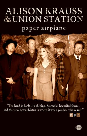 """Alison Krauss and Union Station * PAPER AIRPLANE * Original Music Poster 14"""" x 22"""" Rare 2011 Mint"""