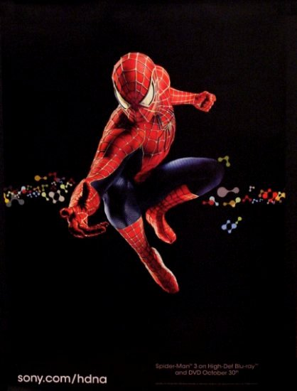 Sony HD * SPIDERMAN * Original Poster 3' x 4' Rare 2007 NEW