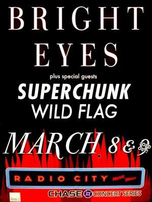 BRIGHT EYES Original Concert Poster 2' x 3' Radio City NYC Rare 2011 Mint