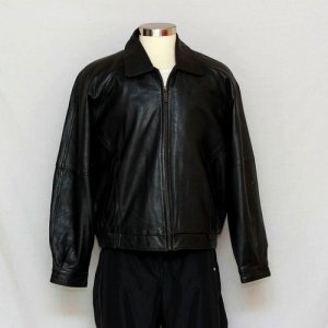 7d1f3015f Perry Ellis Portfolio Mens Black Genuine Lambskin Leather Coat ...