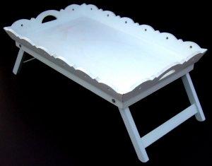 Breakfast Tray VICTORIAN Chic Folding WHITE MINT