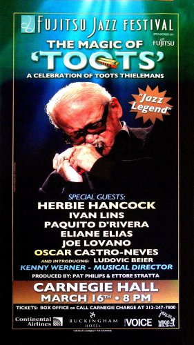 Toots Thielemans * HARMONICA * Carnegie Hall Original Music Poster 4'x5' Rare 2006 Mint