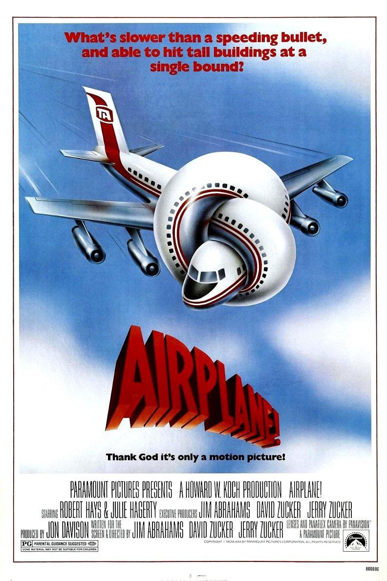 "AIRPLANE ! Original Movie Poster * LESLIE NIELSEN * 27"" x 40"" Rare 1980 Mint"