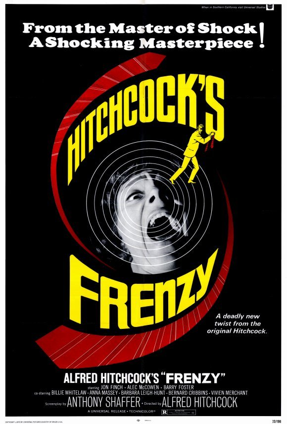 """Alfred Hitchcock's FRENZY Original Movie Poster  27"""" x 40"""" Rare 1972 Mint"""