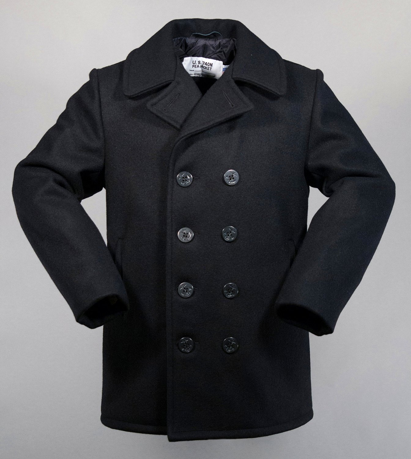 Schott USA Classic Melton Wool Pea Coat 32oz 740 N Size 54 Long NEW w/Tags