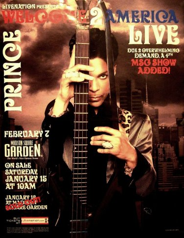 "PRINCE Original Concert Poster SET * WELCOME 2 AMERICA NYC * 17"" x 22"" Rare 2010 Mint"