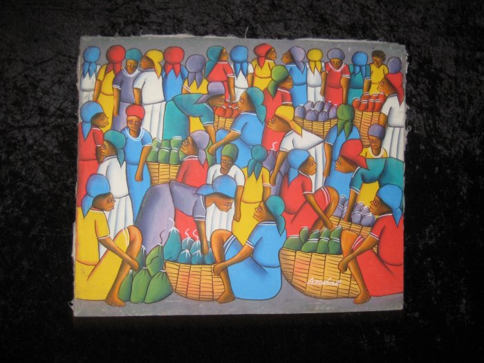Vintage Original Canvas Painting, Signed Andre, African Scene
