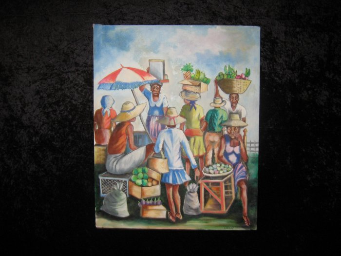 Beautiful, Exotic Canvas Painting, Signed Lazare, African Scene