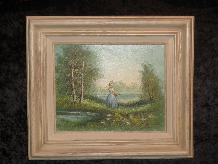 beautiful landscape canvas painting  signed c  manning