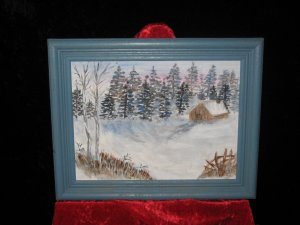 Acrylic Canvas Board Painting, Winter Scene, Signed Claire Sasano