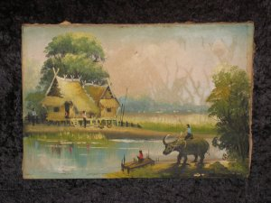 Antique Canvas Painting, Signed, Mid 1940's