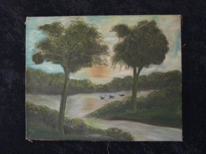 Antique Canvas Painting, Signed V.Farris