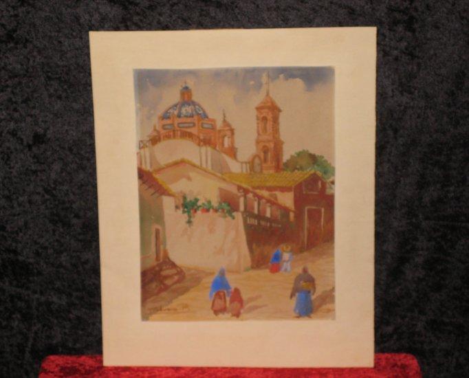 Vintage  Watercolor,  Illegible Signed