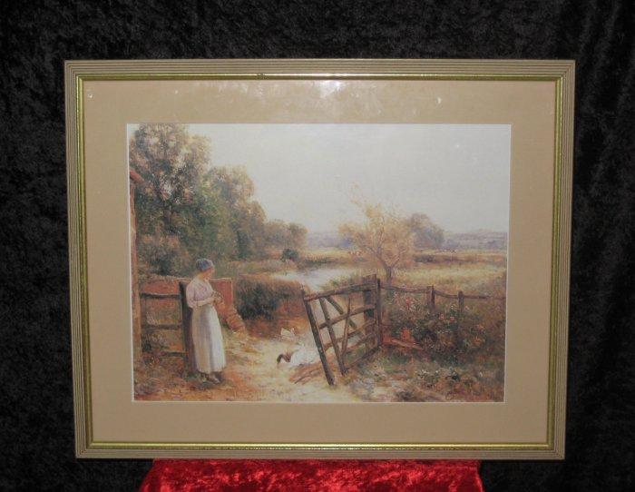 Framed Print, Country scene, Illegible Signed