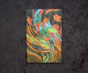 """Abstract oil painting on canvas, fall subject, signed ANELE, European artist, 36"""" by 24"""""""