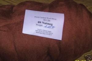 """48"""" Nutmeg Dyed Corriedale Wool Spinning Felt Fiber"""