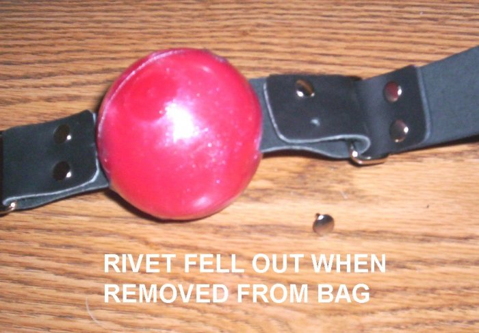 RED JELLY BALL GAG ~ SECONDS~NEEDS SIMPLE REPAIR