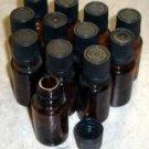 One Dozen 1/2 Oz. Amber Euro-Dropper Aromatherapy Bottles