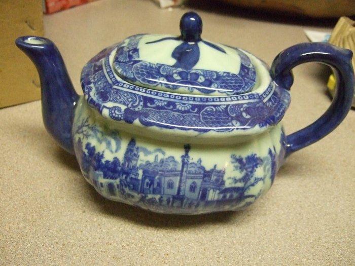 Victoria Ware Ironstone Tea Pot Flow Blue New
