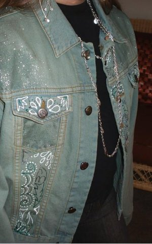 Green Denim Hand Painted Jacket
