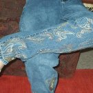 Paisley details hand painted on blue jeans SIZE 4
