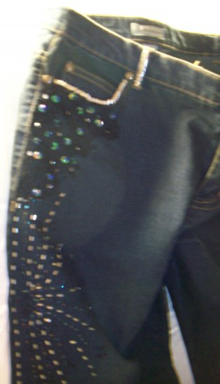 Black Jeans with Silver, blue Beading and Lace and black stones size 14
