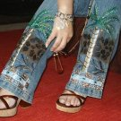 Hand Painted Palm trees on blue jeans size 7/8