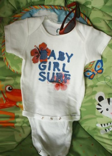 """Baby Onesie Girl Hand painted """" BABY GIRL SURF"""" 6-9 MONTHS"""