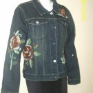 Hand Painted Blue jacket with tattoo roses in size small