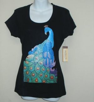 Multicolored Peacock printed on t-shirt size SMALL-FREE SHIPPING