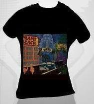 From Miami Beach to the world on a black fitted tee shirt ladies SMALL