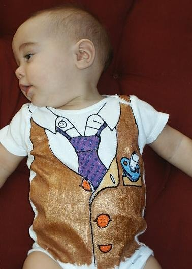 Hand Painted Baby Bodysuit Wrapped as Candy- Working 9 to 5 - Gift ready to Give-size 12  months