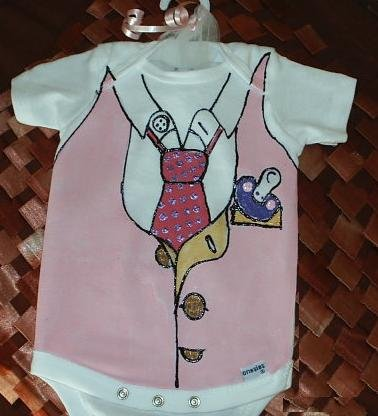 Hand Painted Baby Bodysuit Girl - Wrapped as Candy- Working 9 to 5 - Gift ready to Give-12 MOS.