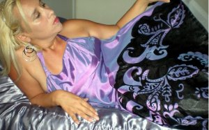 Purple Gown Hand Painted in Black Paisley