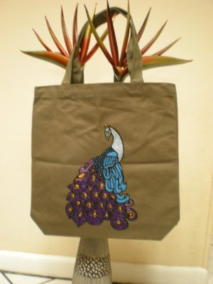 Hand painted and silk screened peacock on a green canvas tote-GO GREEN