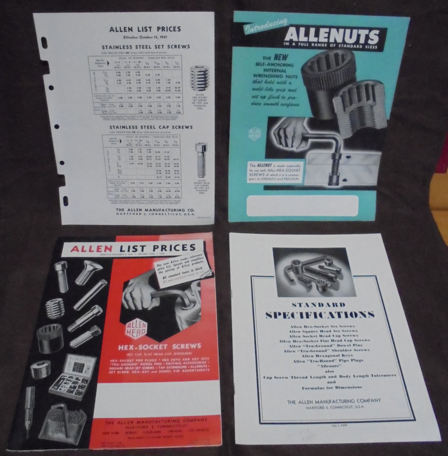 Allen Manufacturing Company 1947-49 catalogs flyer screws tools