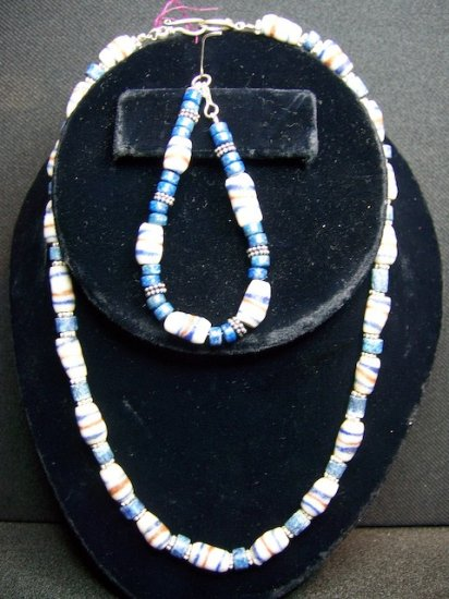 Lapis Lazuli w/ Tribal Beads with matching bracelet