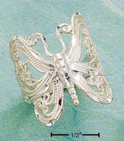 RG002-STERLING SILVER LARGE B-FLY FILI RING