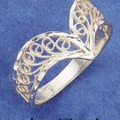 RG005-STERLING SILVER DIAMOND-CUT FILIGREE V RING