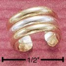 RG027-STERLING SILVER GOLD FILLED TWO TONE 5MM RIBBED EAR CUFF
