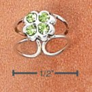 RG036-STERLING SILVER GREEN CRYSTAL CLOVER EAR CUFF