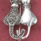 RG040-STERLING SILVER KITTY COUPLE PIN WITH TOUCHING TAILS