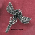 RG041-STERLING SILVER MARCASITE DRAGONFLY PIN WITH GENUINE ONYX BODY & EYES