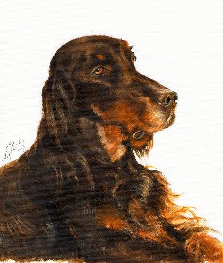 � Original Oil DOG Art Portrait Painting GORDON SETTER