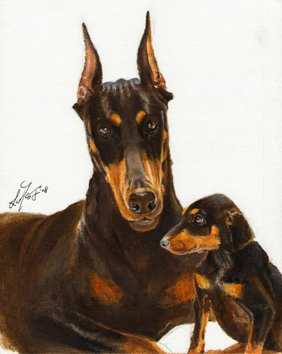 � Original Oil DOG Portrait Painting DOBERMAN PINSCHER