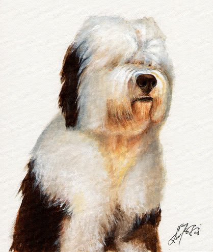 � Original Oil Portrait Painting OLD ENGLISH SHEEPDOG �