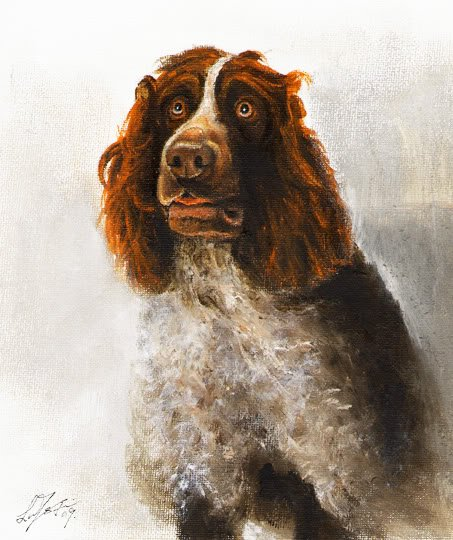 � Original Oil DOG Portrait Painting GERMAN SPANIEL Art