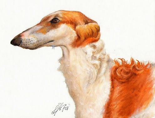 � Original Oil DOG Portrait Painting Art BORZOI Artwork